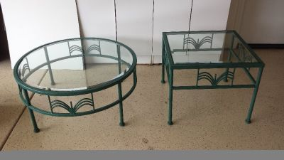 Decorator Wrought Iron Coffee Table and Side Table
