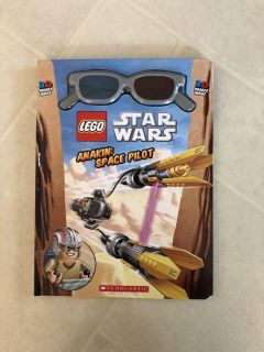 Hard cover LEGO Star Wars Anakin: Space Pilot book, includes 3D glasses