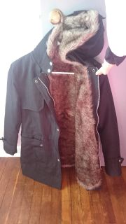 Warm Winter Coat black with faux fur lining