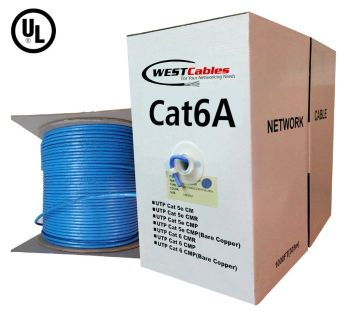 Cat6A Plenum 1000ft Solid Copper UTP Ethernet Cable