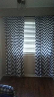 """4 Navy & White Curtains 84"""""""