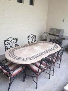 $3,500, outdoor dining table and chiars