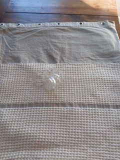 """Sonoma 100% cotton, 70"""" 72"""" tan and beige shower curtain with grommets(plastic shower curtain rings included);Very Good Used Condition"""