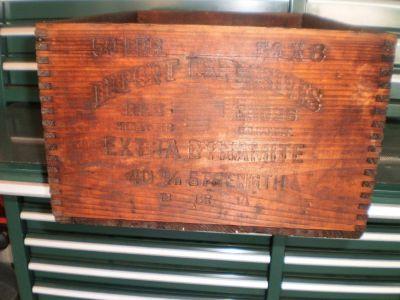 Vintage 50 lbs Dupont Dynamite Red Cross Wooden Box Explosives RAT ROD BAR CAR TRUCK
