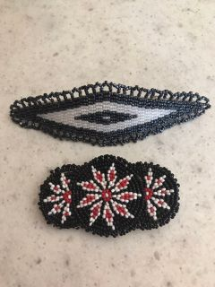 2 Native American hand beaded hair barrettes.