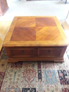 Large Heavy Solid Wood Coffee Table with Huge Storage Drawer