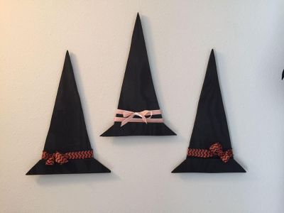 Handmade Wood Painted Halloween Witch Hats