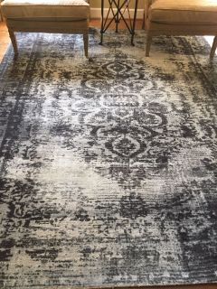 West Elm rug- 8 x 10 Antiqued charcoal, ivory and gray