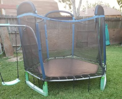 FREE Bounce Pro My First Jump 7-Foot Trampoline and Swing, Blue/Green
