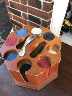 Vinyl Poker chips with a wooden holder