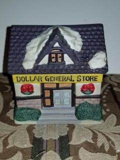Ceramic dollar General light up can use candle or lights in back 5x3.5x3
