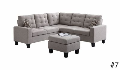Sectional Sofa in Light Gray Linen with Ottoman