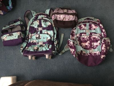 Pottery Barn backpacks and lunch boxes