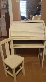 Child's antique roll top desk with chair