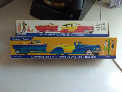 2 NOS vintage plastic cars with boats