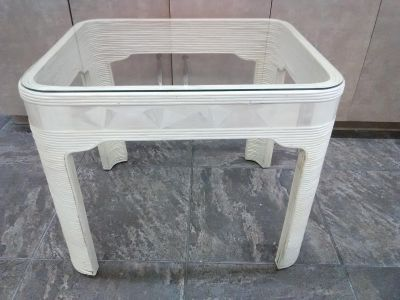 Rattan END TABLE - Glass Top