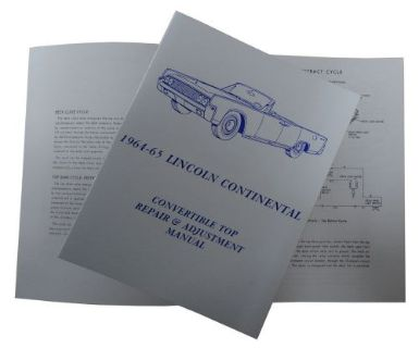 Sell 1964 1965 Lincoln Convertible Top Repair & Adjustment Manual motorcycle in San Diego, California, United States, for US $9.60
