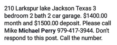 Home for rent in lake jackson