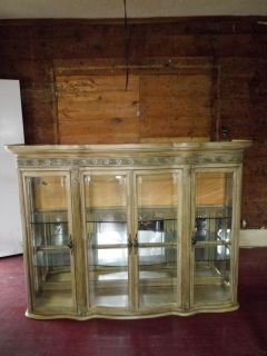 Glass Real Wood china Chester cabinet Real wood with flower carvings at the top