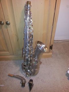Mid-twenties Buescher silver saxophone. True Tone Low Pitch model