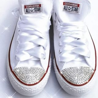 Bling white women's converse sneakers with SWAROVSKI CRYSTALS