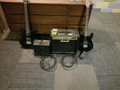Guitars, amps, and overdrive petal