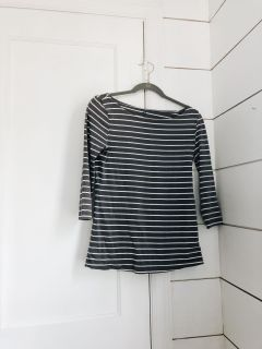 Charcoal and White Stripe Tee From H&M (M)
