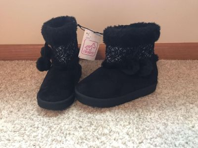 NWT Girls Size 10 boots with side zipper & Pom-poms. Silver is SPARKLY.