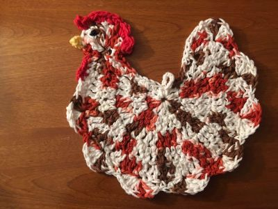 Rooster/Chicken hotpad/washcloth. New. Handcrafted with % Cotton, will not melt with heat. Giftable.
