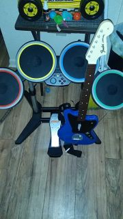 Rock band drums and guitar