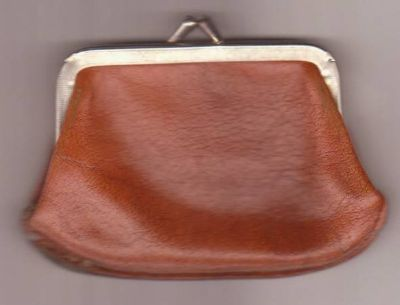 Brown Leather Coin Purse Made U.S.A Vintage