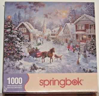 NEW Springbok Night Before Christmas 1000 Piece Jigsaw Puzzle Horse Carriage
