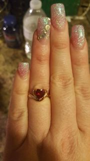 NWT Beautiful Rose Gold Red Stoned Ring - Size 6