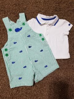 Adorable seersucker overalls w/ whales & matching polo