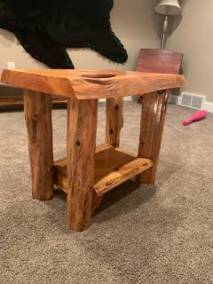 Rustic Log Cabin End Tables- Set of 2