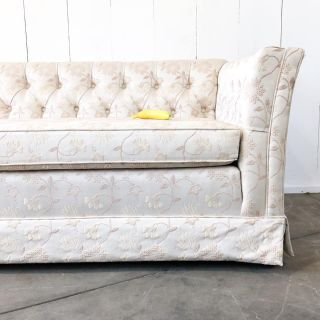8ft tufted brocade tuxedo / chesterfield couch