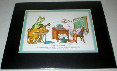 Vtg Robert Marble The Teacher Unflinching On The Front Line Of Learning Cartoon Signed Art Print