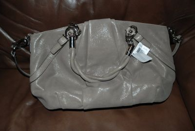 NWT AUTHENTIC COACH F22563 FLINT GREY TAUPE CARRYALL PURSE SATCHEL