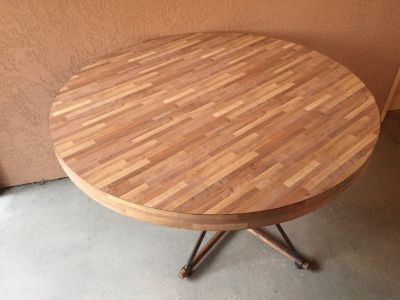 Round Butcher Block/ Iron Table