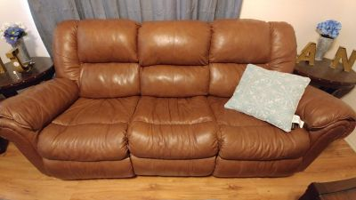 Brown leather lazy boy couch