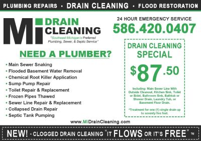 "DRAIN CLEANING $87.50 - 90 Day Warranty - ""It FLOWS or its FREE"""