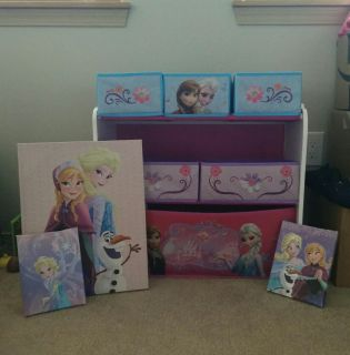 Anna and Elsa toy organizer and 3 canvas prints