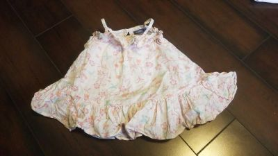 Baby Dress with Flowers and Birds and Gold Stripping