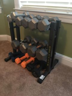 Golds Gym weight rack and all weights shown