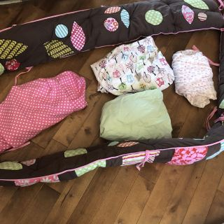 Pottery barn kids bright and colorful crib bumper with 4 sets of crib sheets