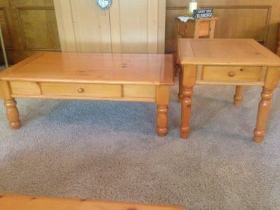 Pine coffee table and (3) pine end tables