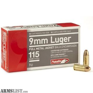 For Sale: Aguila 115gr 9mm FMJ - 150 rounds (3 boxes) - New