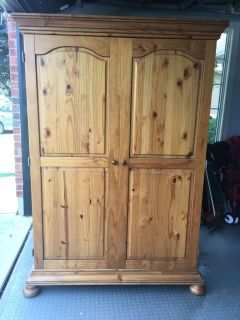 Beautiful solid wood computer armoire.