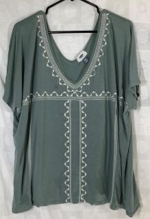 Old Navy Womens Top Embroidered Olive Green Batwing Sleeve Loose Fit XXL