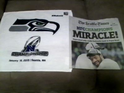 """Seahawks 2015 NFC Championship """"MIRACLE"""" Seattle Times Newspaper & Rally Towel"""